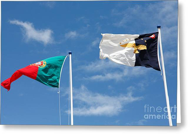 Portugal And Azores Flags Greeting Card