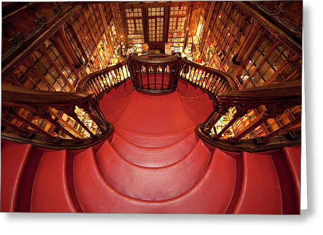 Portugal, Porto Stairway In Lello Book Greeting Card