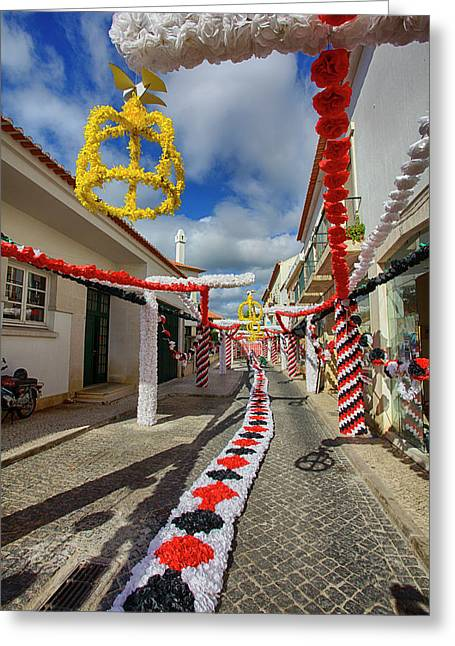 Portugal, Streets Of Tomar Decorated Greeting Card by Terry Eggers