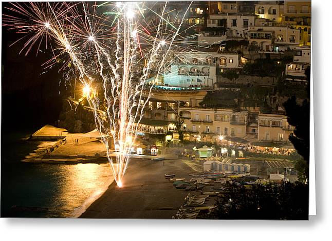 Greeting Card featuring the photograph Positano Fireworks - Italy by Carl Amoth