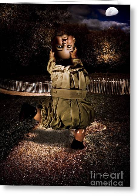 Possessed Doll Doing A Headless Dance Greeting Card by Jorgo Photography - Wall Art Gallery