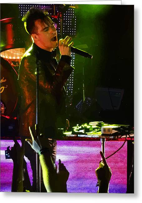 Posterized Brendon Urie Of Panic At The Disco Greeting Card by Lesley DeHaan