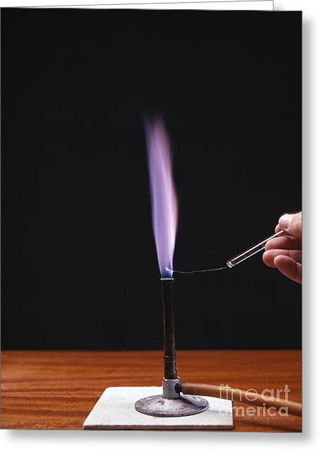 Potassium Flame Test Greeting Card by Andrew Lambert Photography