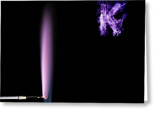 Potassium Flame Test Greeting Card by Science Photo Library