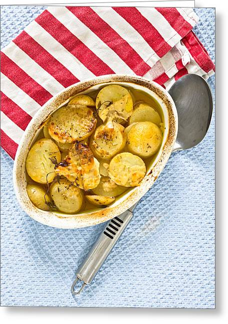 Potato Dish Greeting Card by Tom Gowanlock
