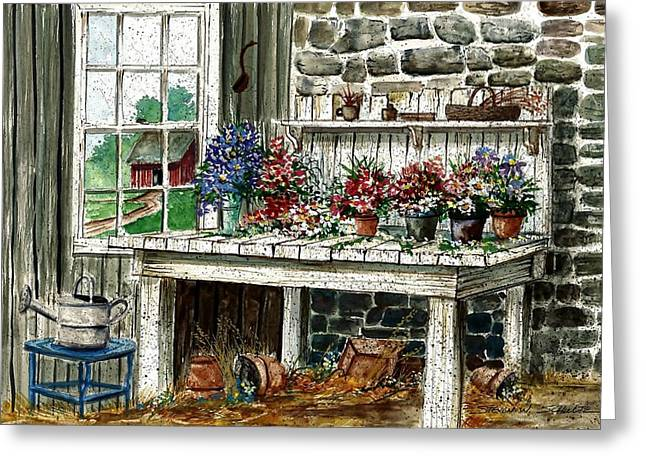 Potting Bench Greeting Card by Steven Schultz