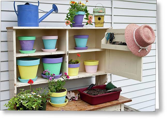 Potting Bench With Containers Greeting Card by Panoramic Images