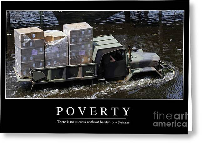 Poverty Inspirational Quote Greeting Card by Stocktrek Images