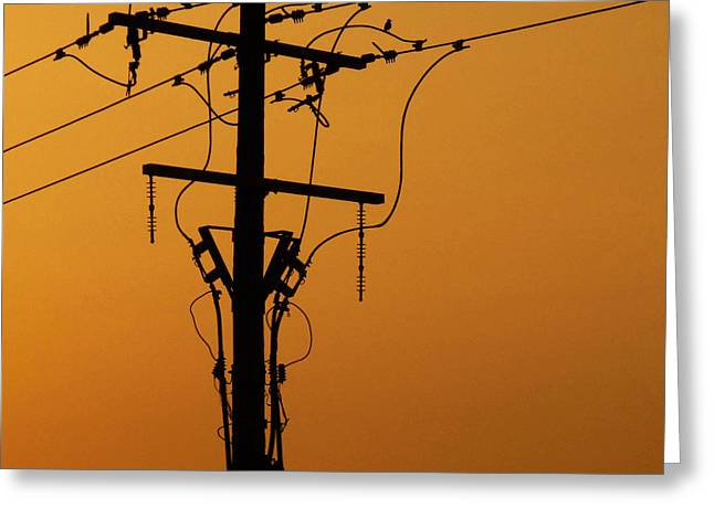 Power Line Sunset Greeting Card by Don Spenner