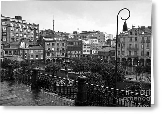 Praza Da Ferreria In Pontevedra Bw Greeting Card