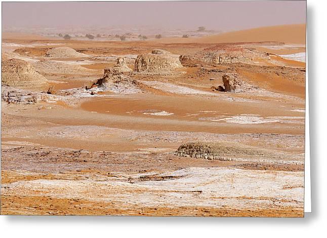 Prehistoric Saharan Lake Deposits Greeting Card by Thierry Berrod, Mona Lisa Production