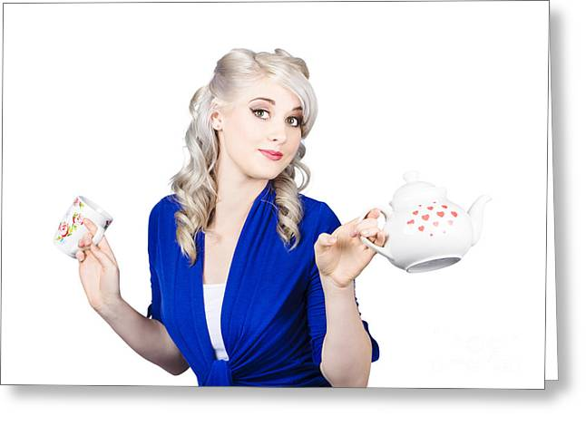 Pretty Blonde Girl Holding A Kettle And A Cup Greeting Card by Jorgo Photography - Wall Art Gallery