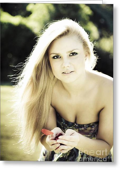 Pretty Blonde Holding Rose Petals Greeting Card