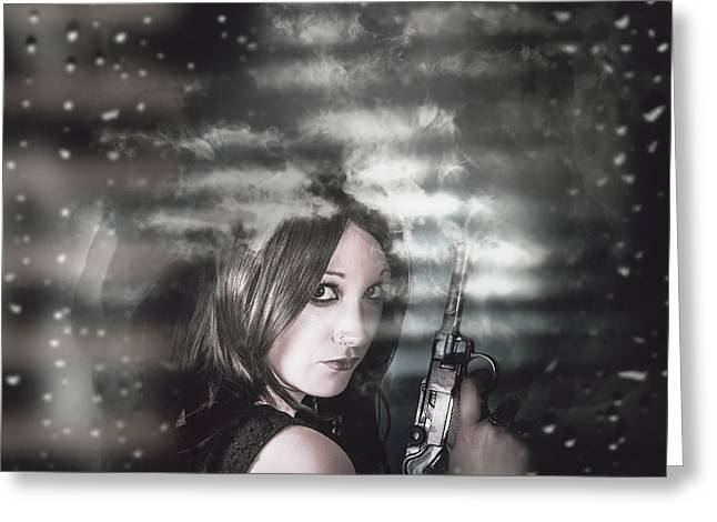 Pretty Female Spy Hiding In Shadows With Weapon Greeting Card