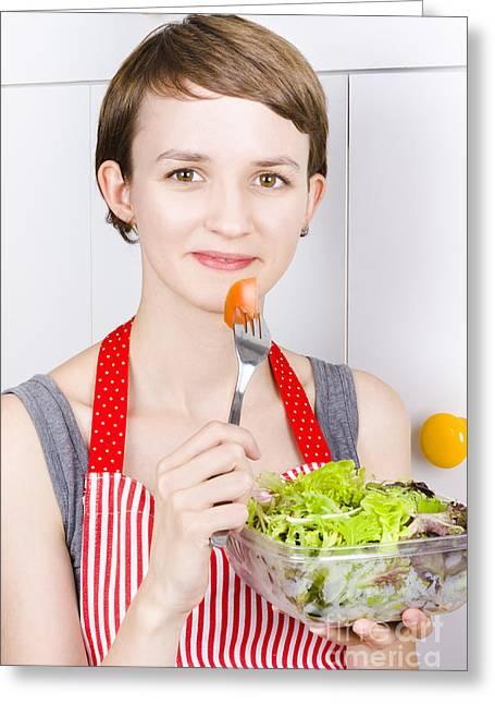 Pretty Woman Holding Salad Bowl Greeting Card