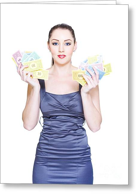 Price Reduction. Money Markdowns And Cash Discount Greeting Card