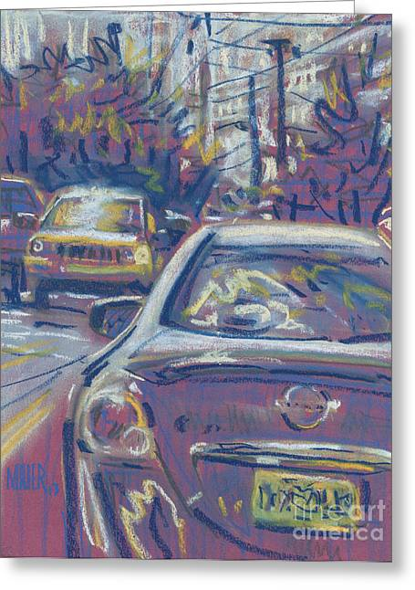 Greeting Card featuring the painting Primary Parking by Donald Maier