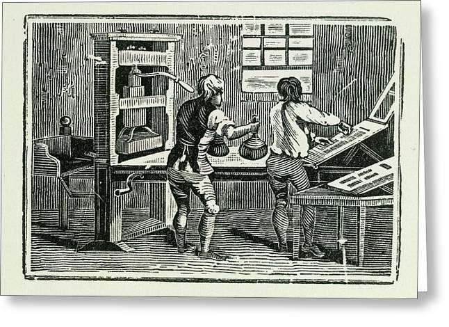 Printing Press Greeting Card by British Library
