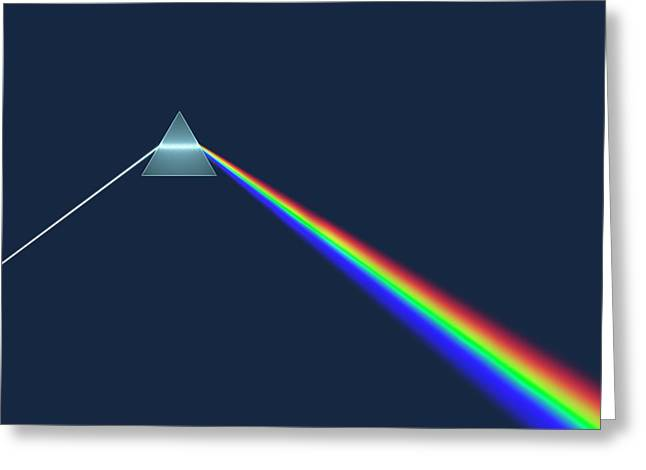 Prism Dispersing Light Into Spectrum Greeting Card by David Parker