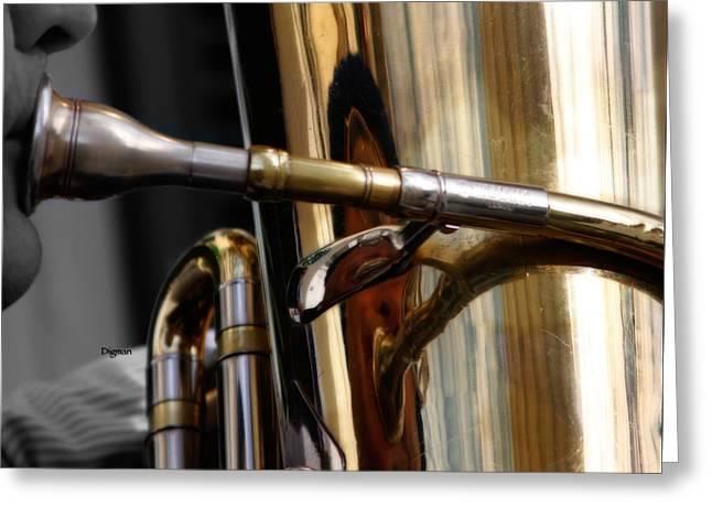 Profile In Tuba Greeting Card