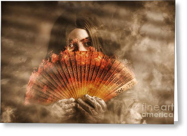 Psychic Clairvoyant Holding Mystery And Magic Fan Greeting Card