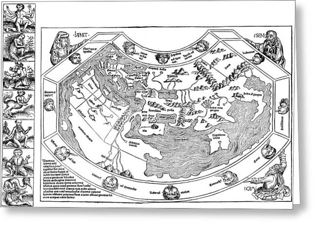 Ptolemaic World Map, 1493 Greeting Card by Granger