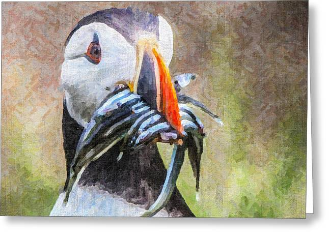Puffin With Sandeels Greeting Card