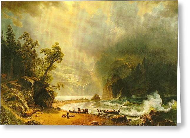 Puget Sound On The Pacific Coast Greeting Card by Albert Bierstadt