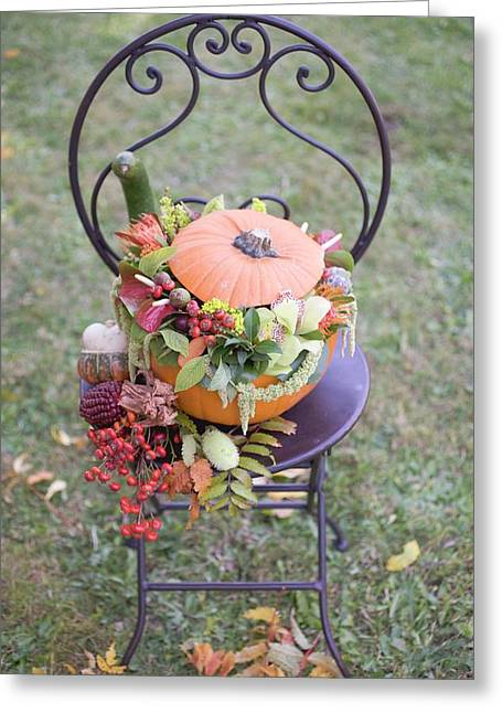 Pumpkin Decorated With Flowers On Garden Chair Greeting Card