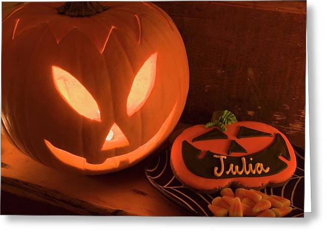 Pumpkin Lantern And Sweets For Halloween Greeting Card
