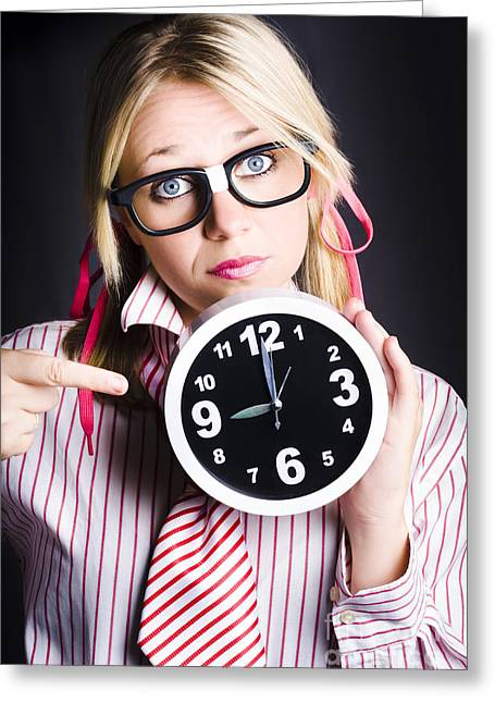 Punctual Woman Late For Time Schedule Deadline Greeting Card