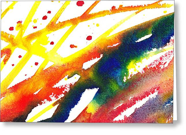 Pure Color Inspiration Abstract Painting Parallel Perception Greeting Card by Irina Sztukowski