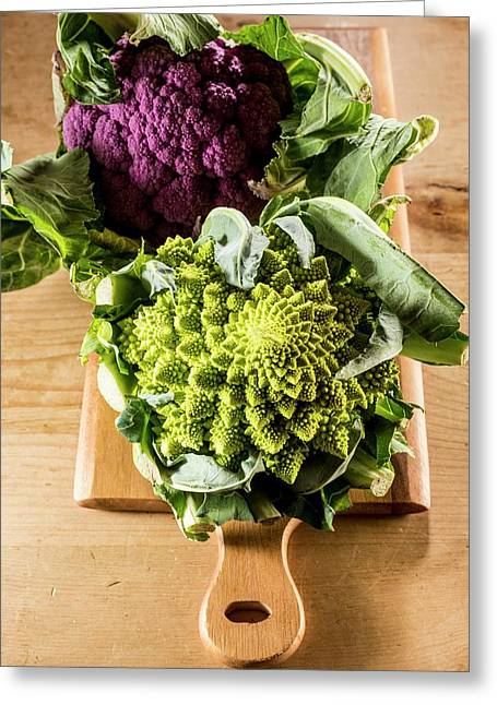 Purple And Romanesque Cauliflowers Greeting Card