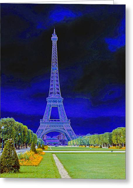 Purple Eiffel Greeting Card by Chuck Staley