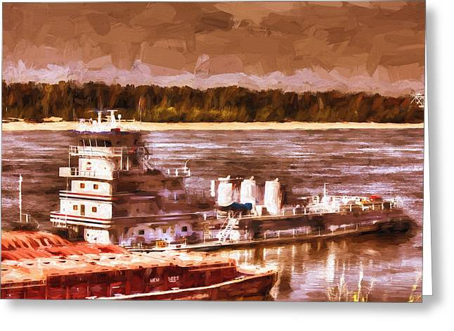 Riverboat - Mississippi River - Push That Barge Greeting Card