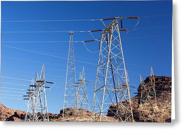 Pylons Taking Hydro Electricity Greeting Card