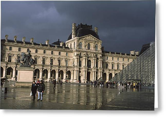 Pyramid In Front Of A Museum, Louvre Greeting Card by Panoramic Images