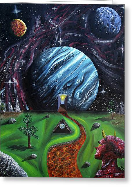 Greeting Card featuring the painting Quantum Dementia by Ryan Demaree