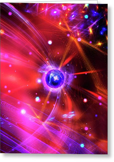 Quantum Particles Greeting Card by Richard Kail