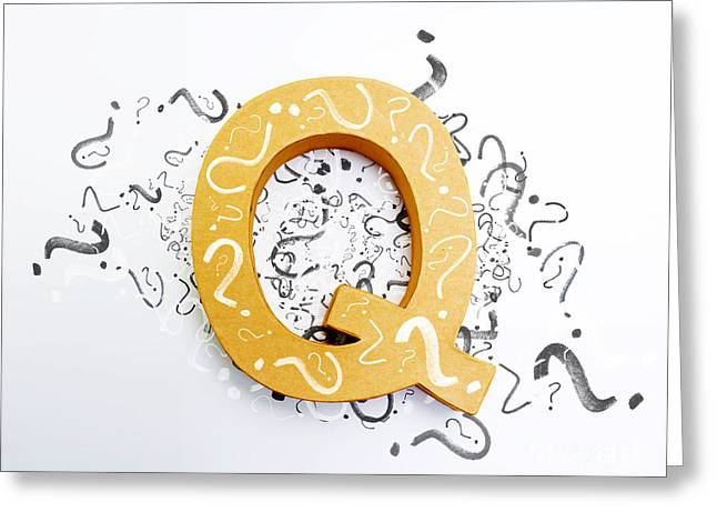 Questions In Need Of Answers On White Background Greeting Card by Jorgo Photography - Wall Art Gallery