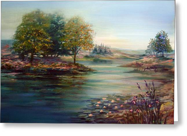 Greeting Card featuring the painting Quiet Day On The Lake by Laila Awad Jamaleldin
