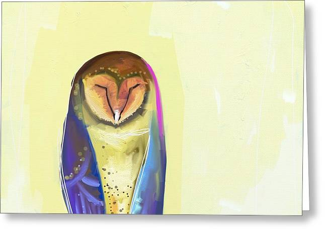 Quiet Owl Greeting Card by Cathy Walters