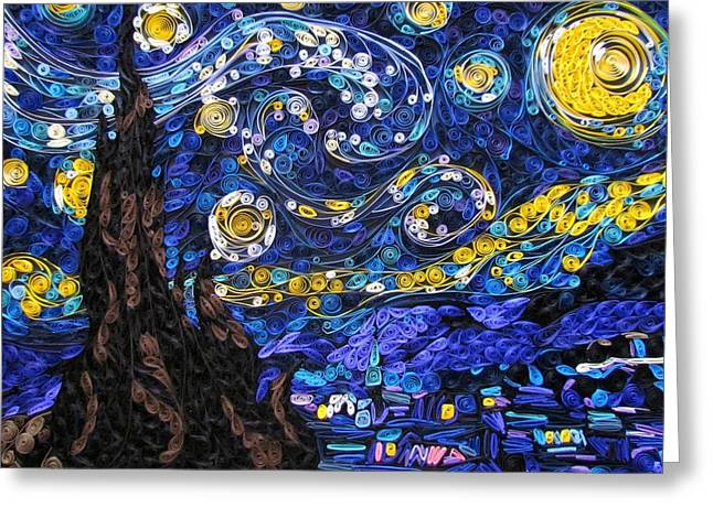 Quilled Starry Night Greeting Card by Suzy Myers