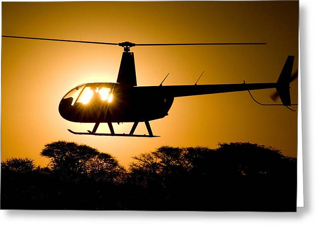 R44 Sunset Greeting Card by Paul Job