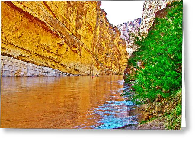 Rafting In Santa Elena Canyon In Big Bend National Park-texas Greeting Card