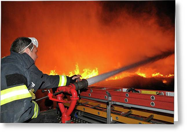 Raging Fire Near The Haifa Oil Refinery Greeting Card by Photostock-israel
