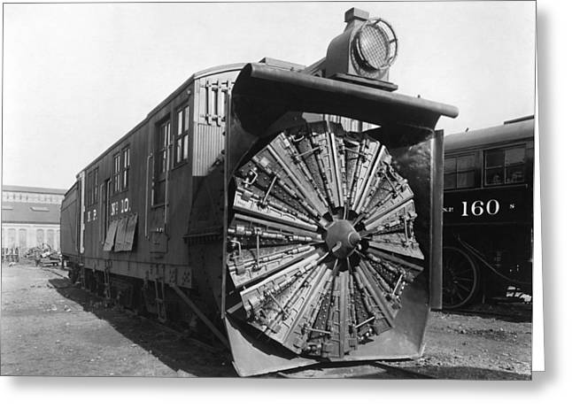 Railroad Rotary Snow Plow Greeting Card by Underwood Archives