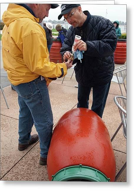 Rain Barrel Workshop Greeting Card by Jim West