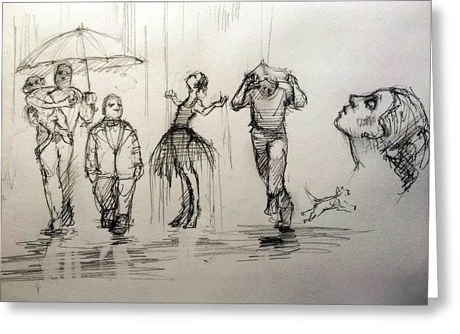 Rain Greeting Card by H James Hoff