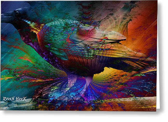 Rainbow Raven Greeting Card by The Feathered Lady